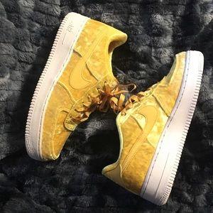 Yellow velvet Air Force 1